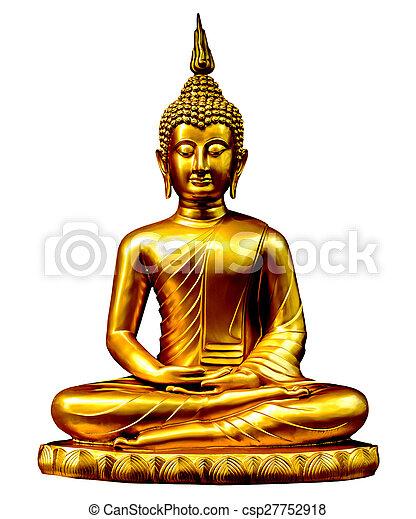 gold buddha statue on white