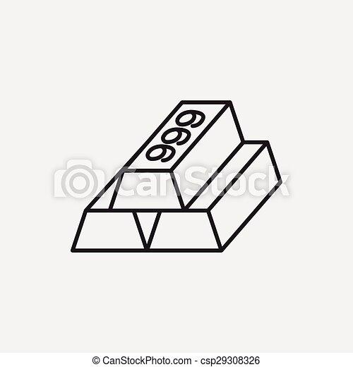 Gold bullion line icon - csp29308326