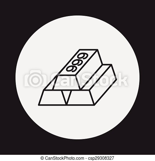 Gold bullion line icon - csp29308327