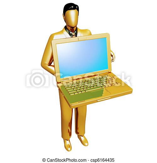 Gold businessman holding laptop - csp6164435