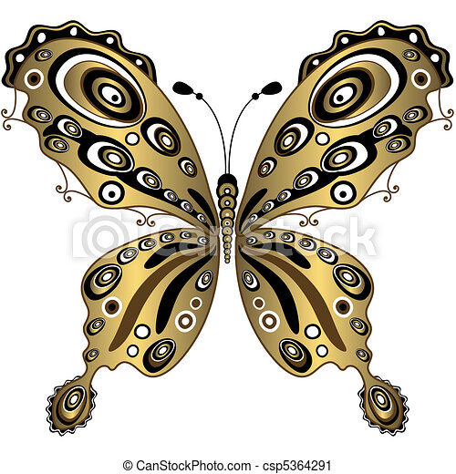 Gold Butterfly Gold Decorative Butterfly Isolated On White Vector