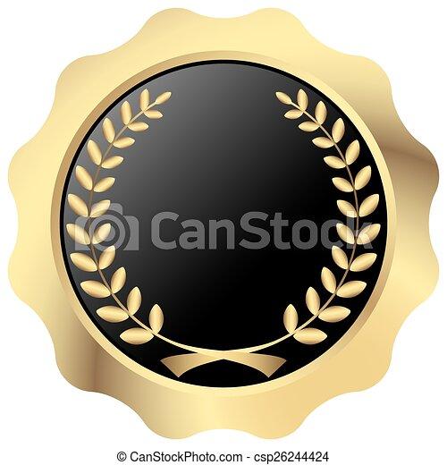 gold button with laurel wreath - csp26244424