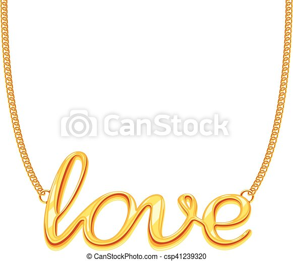 Gold Chain Necklace With Love Word Pendant Vector Il Ration