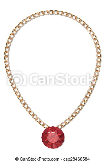 Gold chain with gemstone - csp28466584