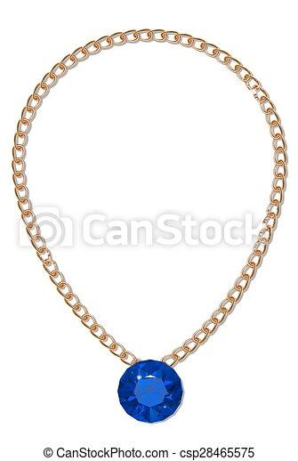 Gold chain with gemstone - csp28465575
