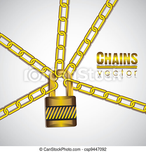 gold chains with a padlock - csp9447092