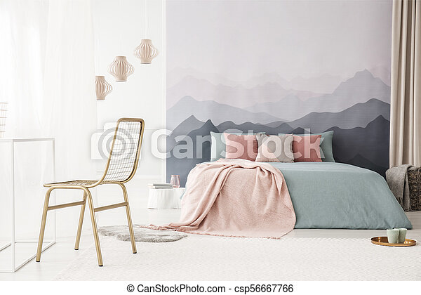 Gold chair in bright bedroom - csp56667766
