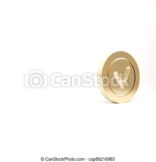Gold Check mark in round icon isolated on white background. Check list button sign. 3d illustration 3D render - csp86216983