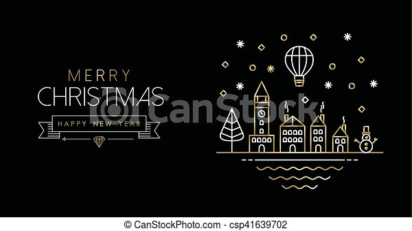 Line Art City : Gold christmas and new year line art city banner merry vector