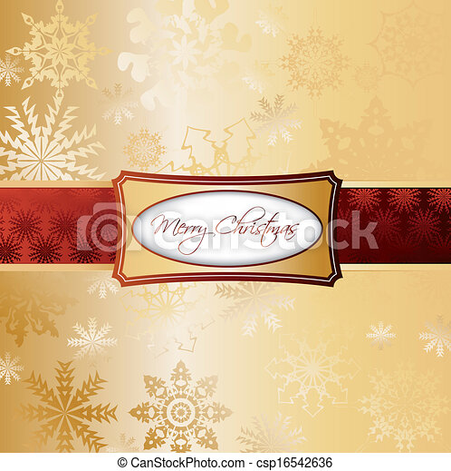 Gold Christmas Background. Vector - csp16542636