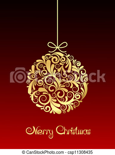 Gold Christmas ball on red background. - csp11308435