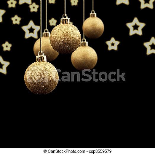 Black Christmas Balls.Gold Christmas Balls On A Black Background