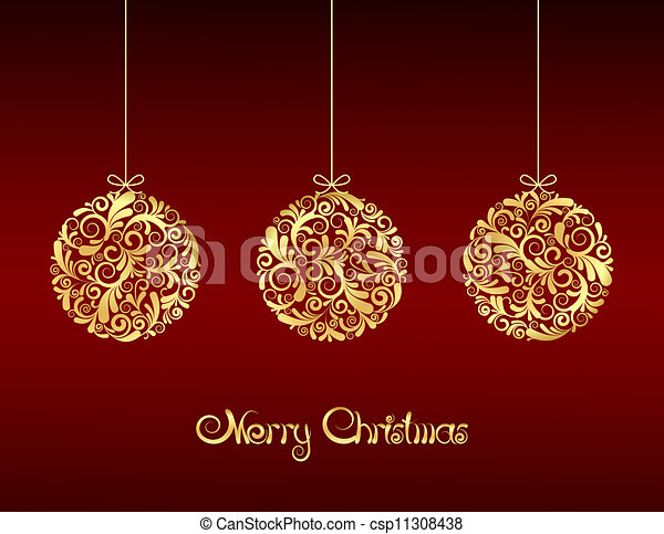 Gold Christmas balls on red background. - csp11308438