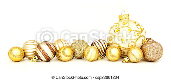 gold christmas bauble border group of gold christmas baubles