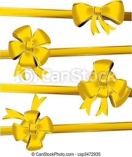 Gold christmas bow decoration - csp3472935