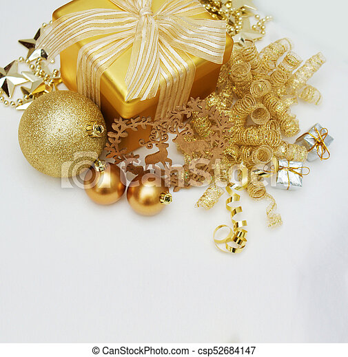 gold christmas gift and decorations on white background csp52684147