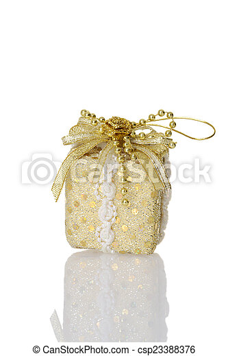 gold christmas gift ornament - csp23388376