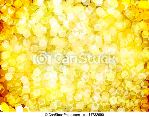 Gold christmas lights background. Vector - csp11732690