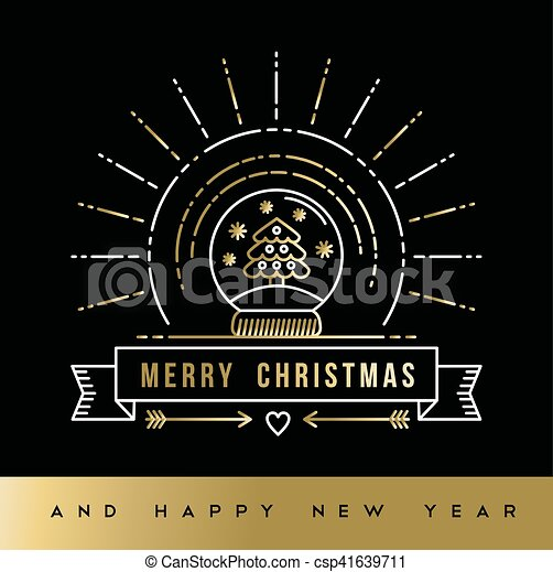 gold christmas new year line art snow globe card csp41639711