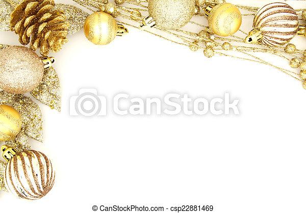 gold christmas ornament border golden christmas border of baubles