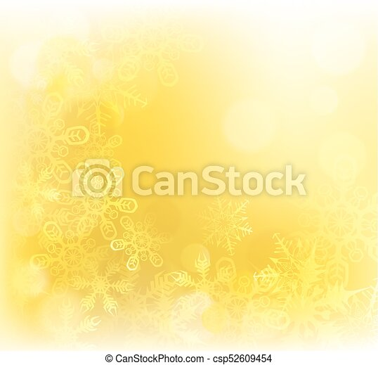 Gold Christmas Snowflakes Background - csp52609454