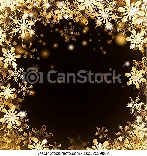 Gold Christmas Snowflakes Background - csp52539882