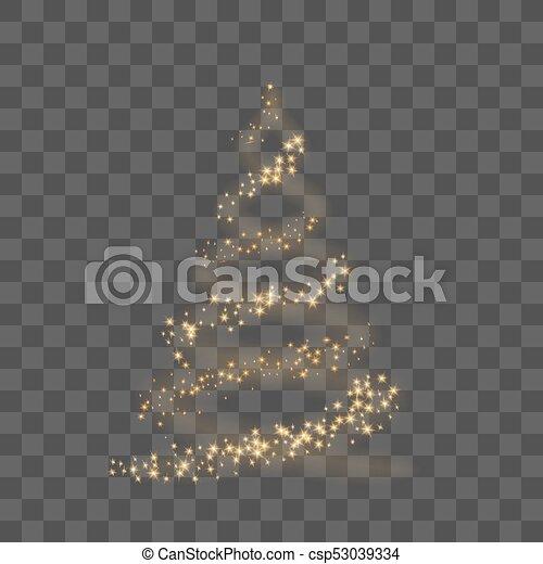 Christmas Tree Transparent Background.Gold Christmas Tree On Transparent Background Happy New Year Vector Illustration