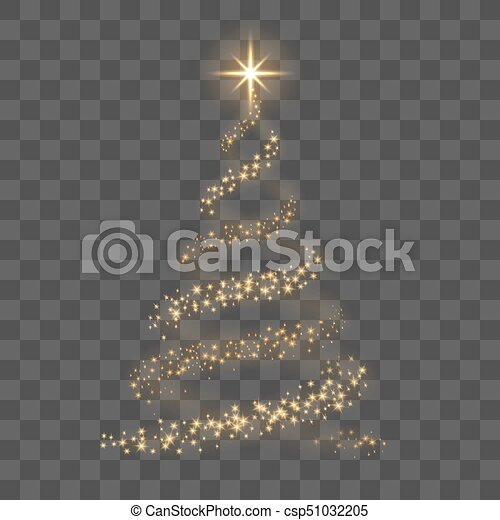 Christmas Tree Backgrounds.Gold Christmas Tree On Transparent Background Happy New Year Vector Illustration