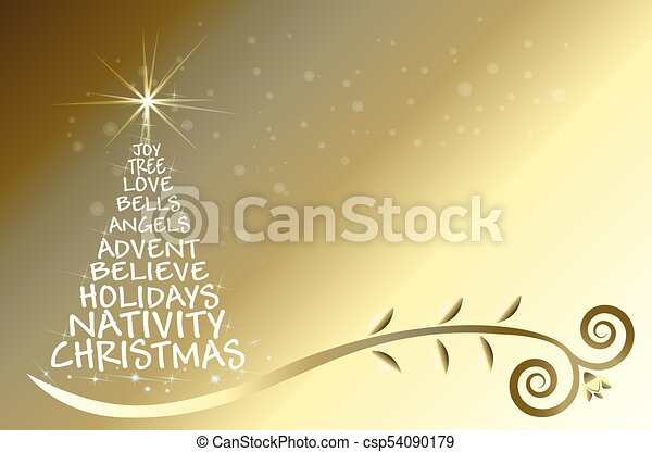 Gold Christmas tree vector - csp54090179