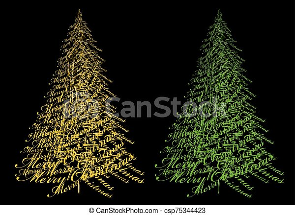 Gold Christmas tree with text, vector - csp75344423