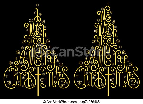 Gold Christmas trees, golden letters, vector - csp74966485