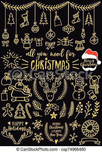 Gold Christmas Vector Design Elements Gold Christmas Doodles For Cards Banners Set Of Vector Design Elements