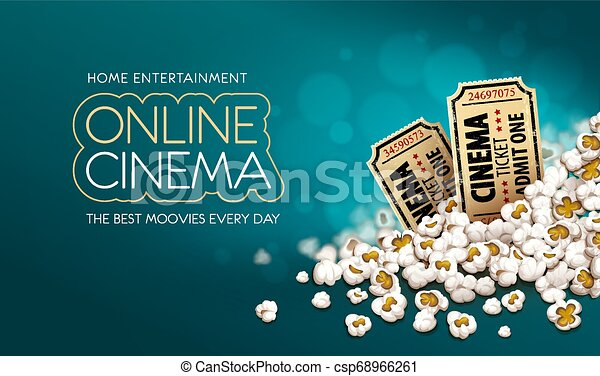 Gold cinema tickets in popcorn. Online movie banner. Vector. - csp68966261