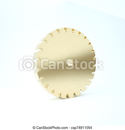 Gold Circular saw blade icon isolated on white background. Saw wheel. 3d illustration 3D render - csp74911054
