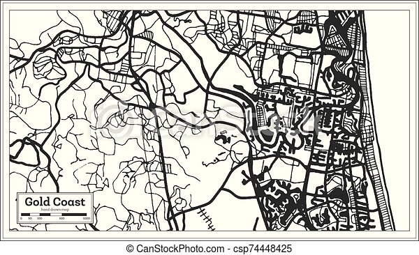Australia Map Black And White Outline.Gold Coast Australia City Map In Black And White Color Outline Map