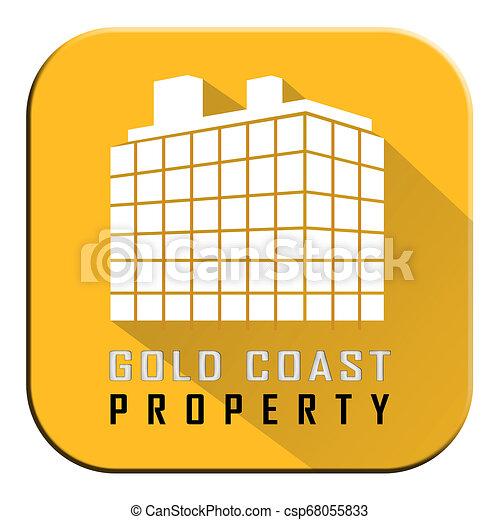 Gold Coast Property Building Depicts Surfers Paradise Real Estate - 3d Illustration - csp68055833