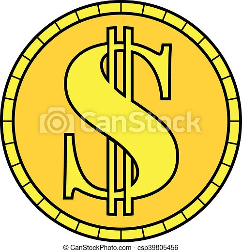 gold coin dollar sign vector clipart vector search illustration rh canstockphoto com dollar sign vector png dollar sign vector graphic