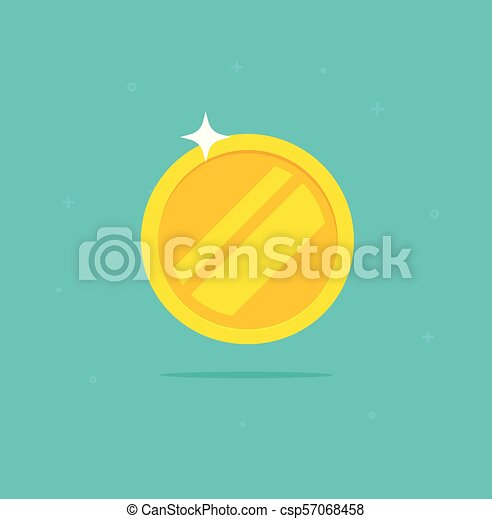 Gold coin vector icon, flat cartoon golden metal money isolated on white background clipart - csp57068458