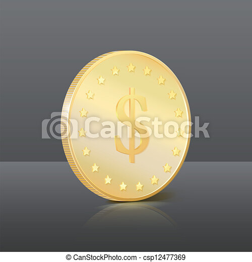 Gold coin with dollar sign. Vector illustration - csp12477369