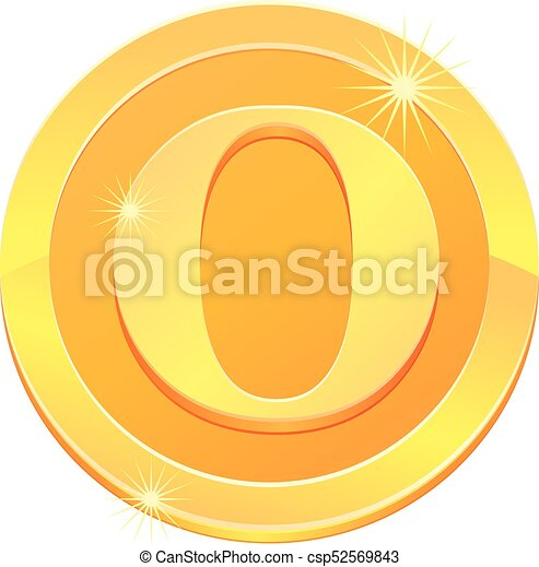 Gold coin with letter O vector icon