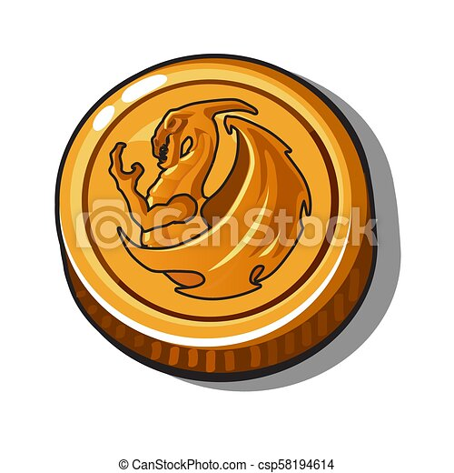 Gold coin with the image of a dragon on isolated white background. Vector illustration. - csp58194614