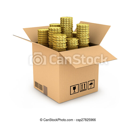 gold coins in stack in side cardboard box isolated - csp27825966