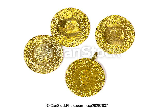 Gold Coins. Isolated on white - csp28297837