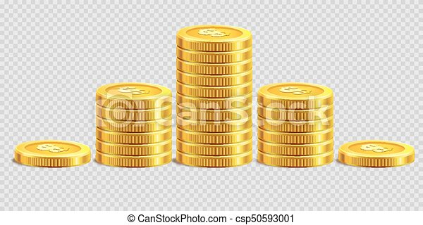Gold Coins Piles Golden Money Bank Coin Heaps On Vector Transparent Background