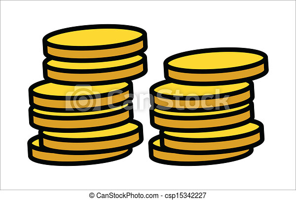 gold coins stack vector drawing art of cartoon gold vector rh canstockphoto com gold coins clipart black and white falling gold coin clipart