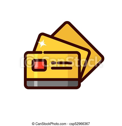 gold credit card vector illustration outline style icon clip art rh canstockphoto com credit card clip art images visa credit card clipart