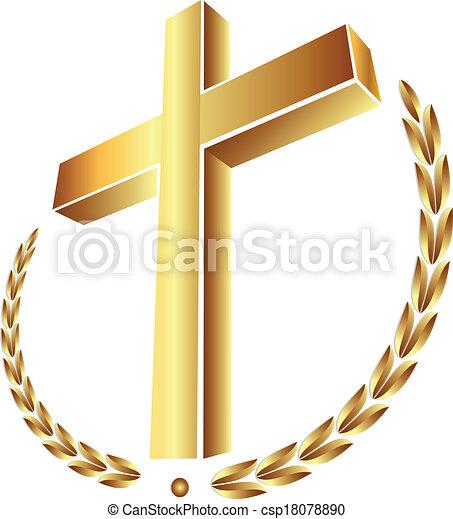 Gold cross with laurel - csp18078890