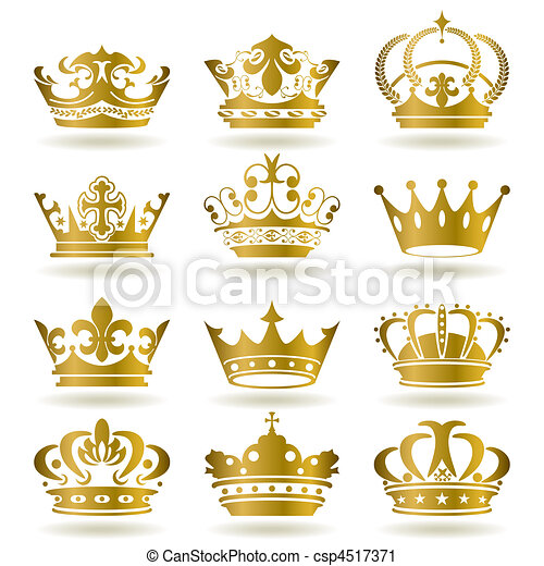 Gold crown icons set - csp4517371