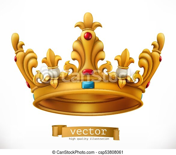 gold crown king vector icon