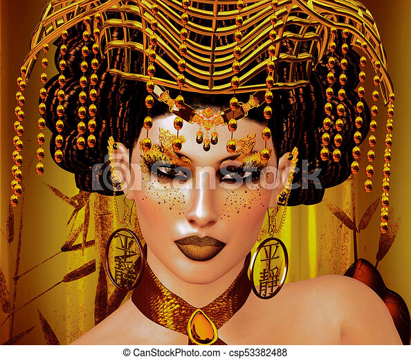 Gold Crown rests upon the head of a beautiful Asian woman - csp53382488